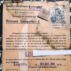Coches y Motocicletas: DOCUMENTACION MV AUGUSTA AÑO 1958.MATRICULA LO-XXXX.. Lote 149502242
