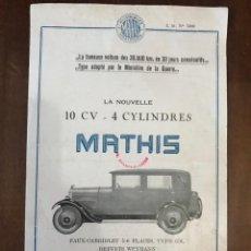 Coches y Motocicletas: MATHIS. FOLLETO DE PUBLICIDAD. AÑO 1928 ?. Lote 217978592