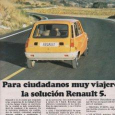 Coches y Motocicletas: PUBLICIDAD 1973. ANUNCIO RENAULT 5 (GRANDE - VER FOTOS). Lote 149758746