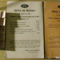 Coches y Motocicletas: 3 CATALOGO LISTA PRECIOS COCHES FORD AÑO 1934 , 2 NOTAS DE PRECIOS 1935 COCHES COMERCIALES 8 HP. Lote 149850714