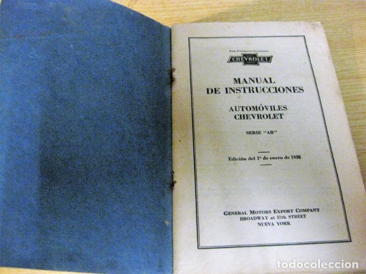 PRECIOSO CATALOGO MANUAL DE INSTRUCCIONES AUTOMOVILES CHEVROLET SERIE AB AÑO 1928 GENERAL MOTORS (Coches y Motocicletas Antiguas y Clásicas - Catálogos, Publicidad y Libros de mecánica)