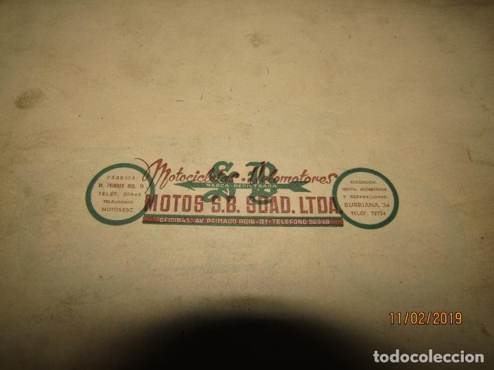 Coches y Motocicletas: Antiguo Catálogo de Piezas de la Motocicleta SB Modelo 98 c.c. en Valencia del Año 1957 - Foto 7 - 164539253