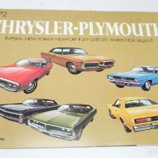 Coches y Motocicletas: CATALOGO CHRYSLER-PLYMOUTH, AÑO 1972, IMPERIAL LE BARON, CHRYSLER NEW YORKER, NEWPORT, NEWPORT ROYAL. Lote 151209378
