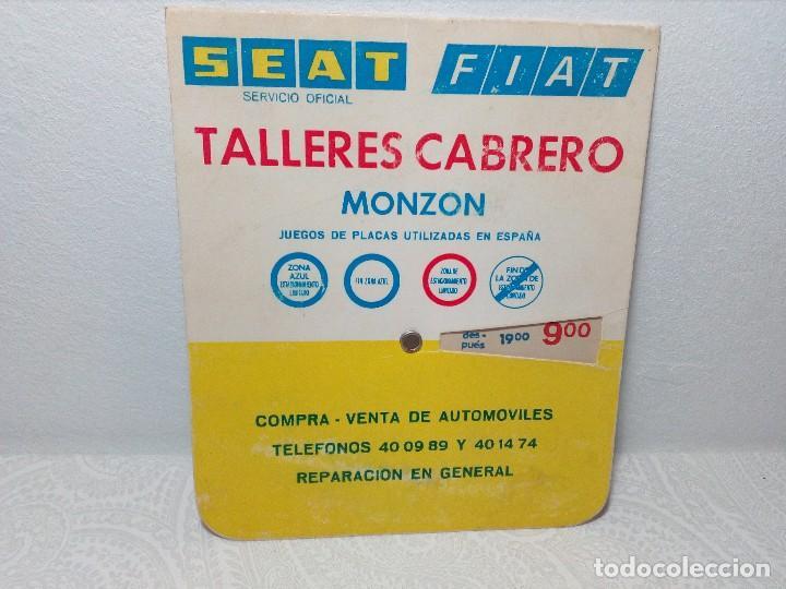 ANTIGUO DISCO DE CONTROL DE APARCAMIENTO ZONA AZUL - SEAT - FIAT - AÑOS 60 (Coches y Motocicletas Antiguas y Clásicas - Catálogos, Publicidad y Libros de mecánica)