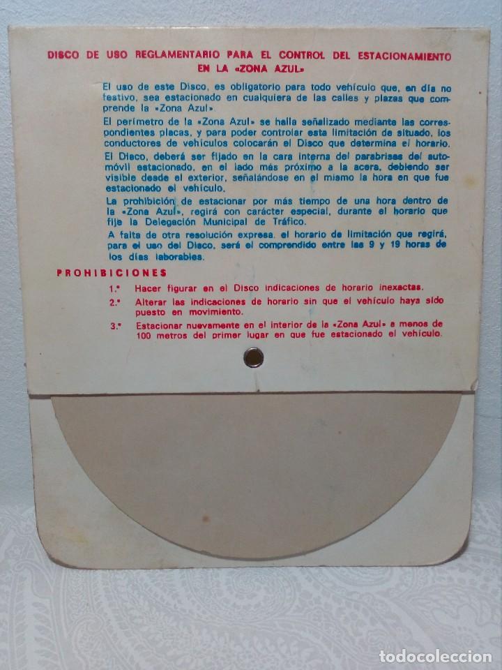 Coches y Motocicletas: ANTIGUO DISCO DE CONTROL DE APARCAMIENTO ZONA AZUL - SEAT - FIAT - AÑOS 60 - Foto 3 - 151551586