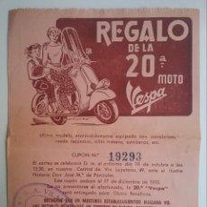 Coches y Motocicletas: VESPA MOTOCICLETA SCOOTER PUBLICIDAD CASA VILARDELL BARCELONA N° SORTEO RIFA AÑO 1955. Lote 151847186