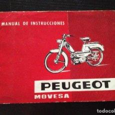 Coches y Motocicletas: MANUAL DE INSTRUCCIONES PEUGEOT MOVESA 1968. Lote 151852706