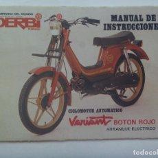 Coches y Motocicletas: DERBI , CAMPEONA DEL MUNDO : MANUAL INSTRUCCIONES DEL CICLOMOTOR VARIANT BOTON1983 ROJO , . Lote 151914378