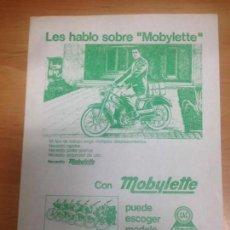 Coches y Motocicletas: FOLLETO PUBLICITARIO MOBYLETTE . Lote 152184134