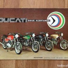 Coches y Motocicletas: CATÁLOGO DE MOTOS DUCATI TWIN 500, VENTO 350 Y FORZA 350, CARACTERISTICAS. ORIGINAL DE 1977.. Lote 153183058