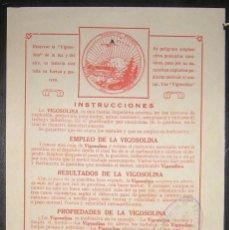 Coches y Motocicletas: HOJA PUBLICITARIA ORIGINAL DE VIGOSOLINA, ADITIVO PARA GASOLINA DE LOS AÑOS 20.. Lote 153788846