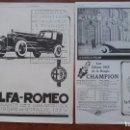 Coches y Motocicletas: ALFA ROMEO 6 CILINDROS MILANO ITALIA AUTOMOVILE S ANTIGUOS 2 HOJAS REVISTA AÑO 1925. Lote 155650414