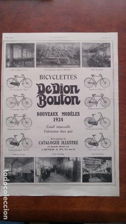 Coches y Motocicletas: DION BOUTON AUTOMOVILES ANTIGUOS VOITURE 7 HOJAS PUBLICIDAD AÑOS 1923-1924-1925-1926 BICYCLETTES - Foto 5 - 156525710