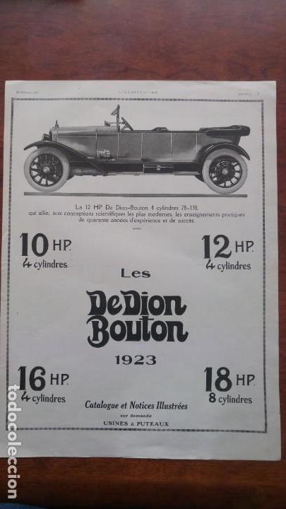 DION BOUTON AUTOMOVILES ANTIGUOS VOITURE 7 HOJAS PUBLICIDAD AÑOS 1923-1924-1925-1926 BICYCLETTES (Coches y Motocicletas Antiguas y Clásicas - Catálogos, Publicidad y Libros de mecánica)