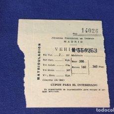 Coches y Motocicletas: DOCUMENTO JEFATURA PROVINCIAL TRAFICO MADRID MATRICULACION SEAT 600 D. Lote 192214746