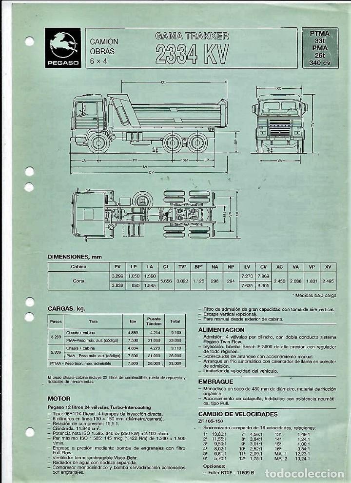 HOJA DE CARACTERÍSTICAS DEL CAMIÓN OBRAS GAMA TRAKKER 2334 KV, 340 CV, 1989 (Coches y Motocicletas Antiguas y Clásicas - Catálogos, Publicidad y Libros de mecánica)