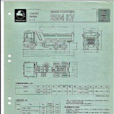 Coches y Motocicletas: HOJA DE CARACTERÍSTICAS DEL CAMIÓN OBRAS GAMA TRAKKER 2334 KV, 340 CV, 1989. Lote 156952870