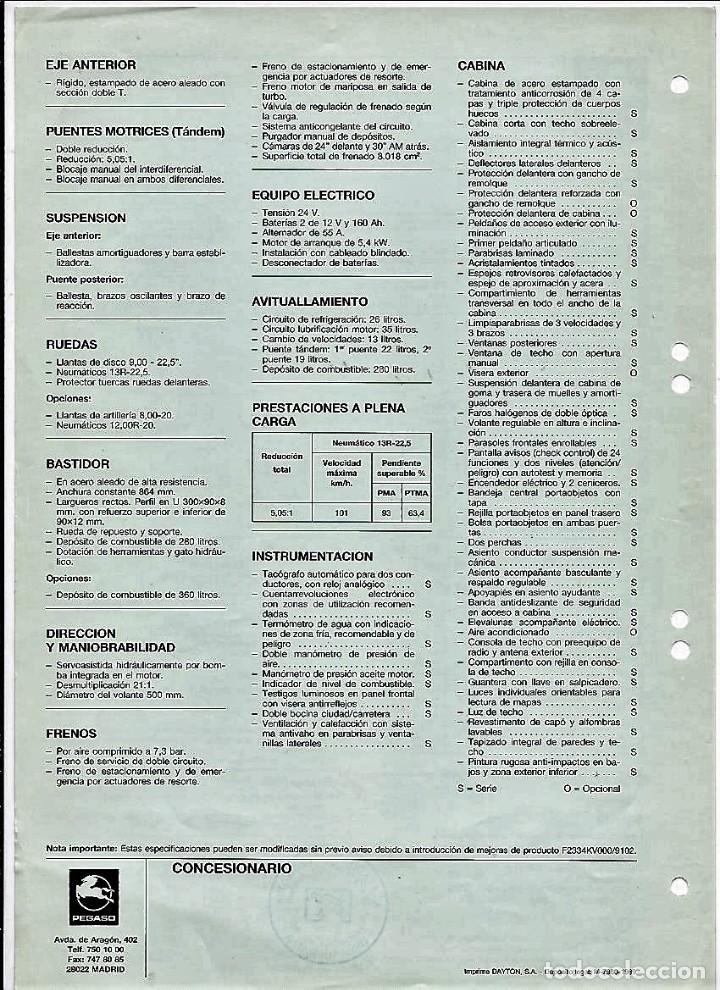 Coches y Motocicletas: Hoja de características del camión obras gama Trakker 2334 KV, 340 CV, 1989 - Foto 2 - 156952870
