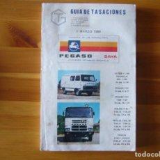 Coches y Motocicletas: GUIA DE TASACIONES 1984 PEGASO SAVA 4 1.100 Y MODELOS CAMIONES. Lote 156956034