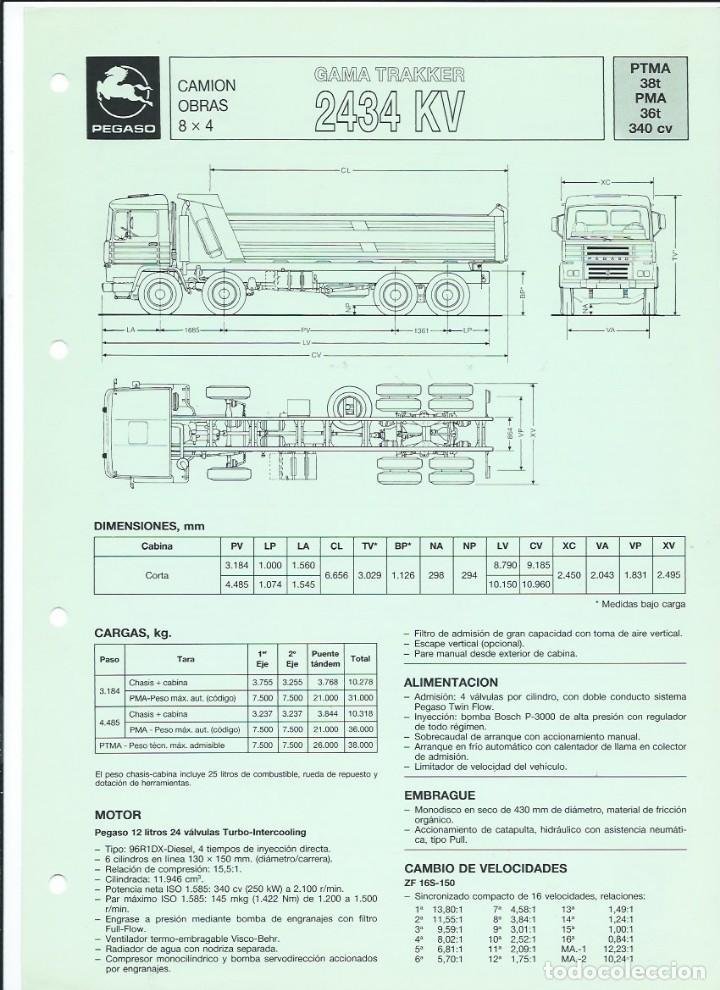HOJA DE CARACTERÍSTICAS DEL CAMIÓN OBRAS GAMA TRAKKER (8 X 4) 2434 KV, 36 T, 340 CV, 1989 (Coches y Motocicletas Antiguas y Clásicas - Catálogos, Publicidad y Libros de mecánica)