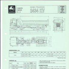 Coches y Motocicletas: HOJA DE CARACTERÍSTICAS DEL CAMIÓN OBRAS GAMA TRAKKER (8 X 4) 2434 KV, 36 T, 340 CV, 1989. Lote 156956190