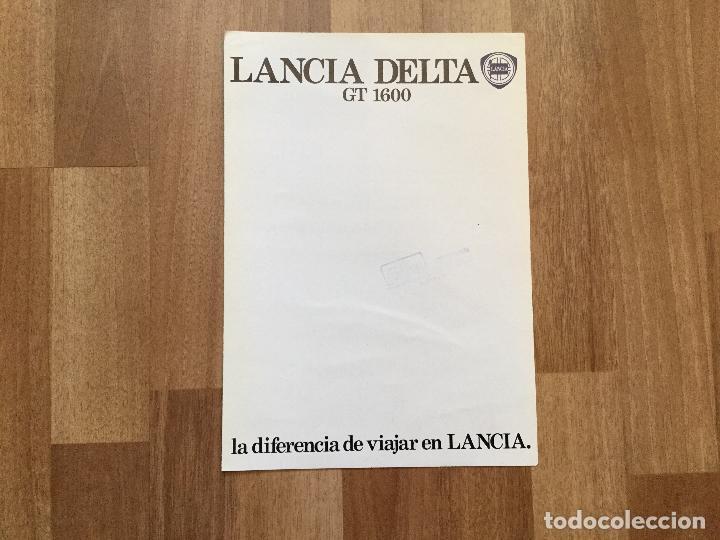 CATALOGO COCHE LANCIA DELTA GT 1600 (Coches y Motocicletas Antiguas y Clásicas - Catálogos, Publicidad y Libros de mecánica)