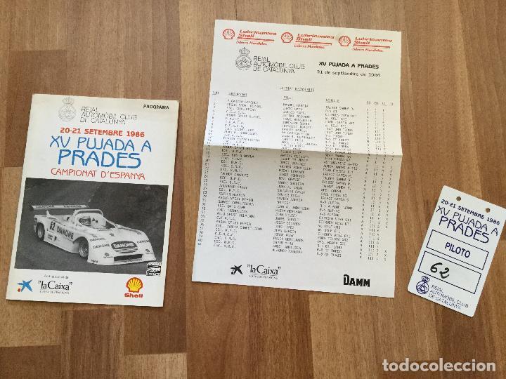 PROGRAMA CARRERA RALLYE XV PUJADA A PRADES AÑO 1986 COCHE (Coches y Motocicletas Antiguas y Clásicas - Catálogos, Publicidad y Libros de mecánica)