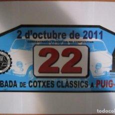 Coches y Motocicletas: DORSAL RALLYE CLASICOS TROBADA DE COTXES CLASSICS A PUIG-REIG 2 OCTUBRE 2011. Lote 158184938
