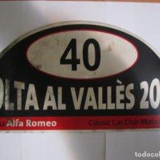 Coches y Motocicletas: DORSAL RALLYE CLASICOS VOLTA AL VALLES 2006 TROFEU ALFA ROMEO CLASSIC CAR MATADEPERA. Lote 158185274