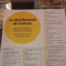 Coches y Motocicletas: RED RENAULT DE GALICIA CONCESIONARIOS. Lote 158587734