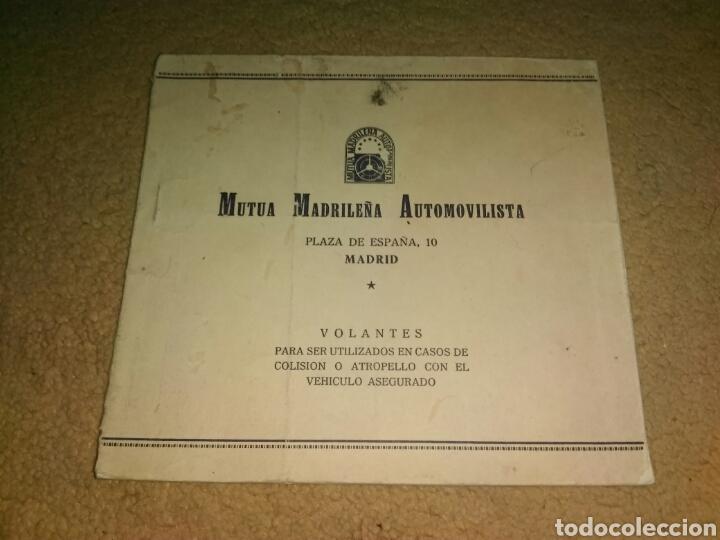 MUTUA MADRILEÑA AUTOMOVILISTA VOLANTES ACCIDENTE COLISION ATROPELLO SEGURO COCHE VEHICULO AGRESA (Coches y Motocicletas Antiguas y Clásicas - Catálogos, Publicidad y Libros de mecánica)
