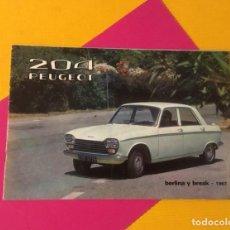Coches y Motocicletas: ANTIGUO CATÁLOGO COCHE PEUGEOT 204 AÑOS 1967 TOTALMENTE ORIGINAL. Lote 159930442