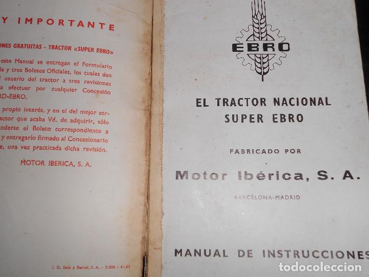 Coches y Motocicletas: Antiguo Manual de Instrucciones Original del Super Tractor EBRO Motor Iberica S.A. 2ª Edic. de 1963. - Foto 2 - 160088090