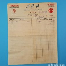 Coches y Motocicletas: FACTURA Y ALBARAN DE 1961 DEL CONCESIONARIO PROVICIAL DE LAMBRETTA S.E.A. DE REUS, VESPA, FIRESTONE. Lote 160384406