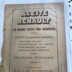 Coches y Motocicletas: RECORTE DE PRENSA PUBLICITARIO ANTIGUO ACEITE RENAULT. Lote 160830745