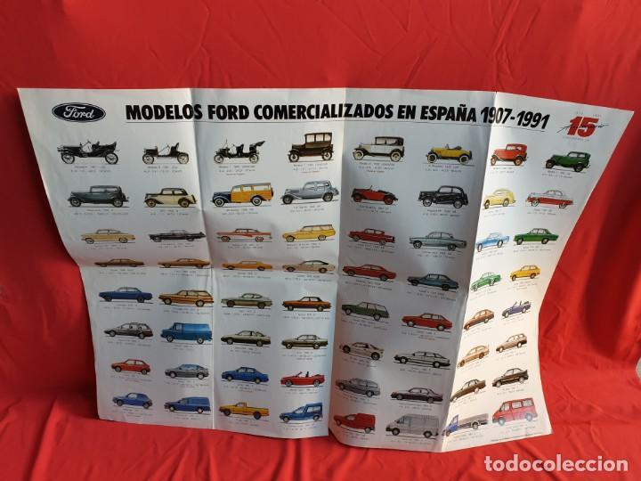PÓSTER COCHES MODELOS FORD COMERCIALIZADOS EN ESPAÑA 1907-1991. 15 ANIVERSARIO ESPAÑA. (Coches y Motocicletas Antiguas y Clásicas - Catálogos, Publicidad y Libros de mecánica)
