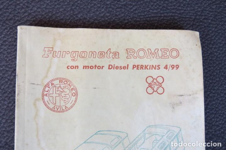 Coches y Motocicletas: MANUAL INSTRUCCIONES FURGONETA ROMEO. MOTOR PERKINS 4/99 - 1963 - Foto 2 - 163044794