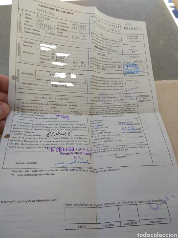 Coches y Motocicletas: Seat 127 - Lote de Facturas de Compra - Impuesto de Circulación - Primera Revisión - - Foto 9 - 163778622