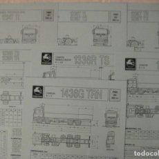Coches y Motocicletas: 7 FICHAS CAMIONES PEGASO TRONER CABINAS TX, TR,TS, TL, AÑO 1989. Lote 163988206