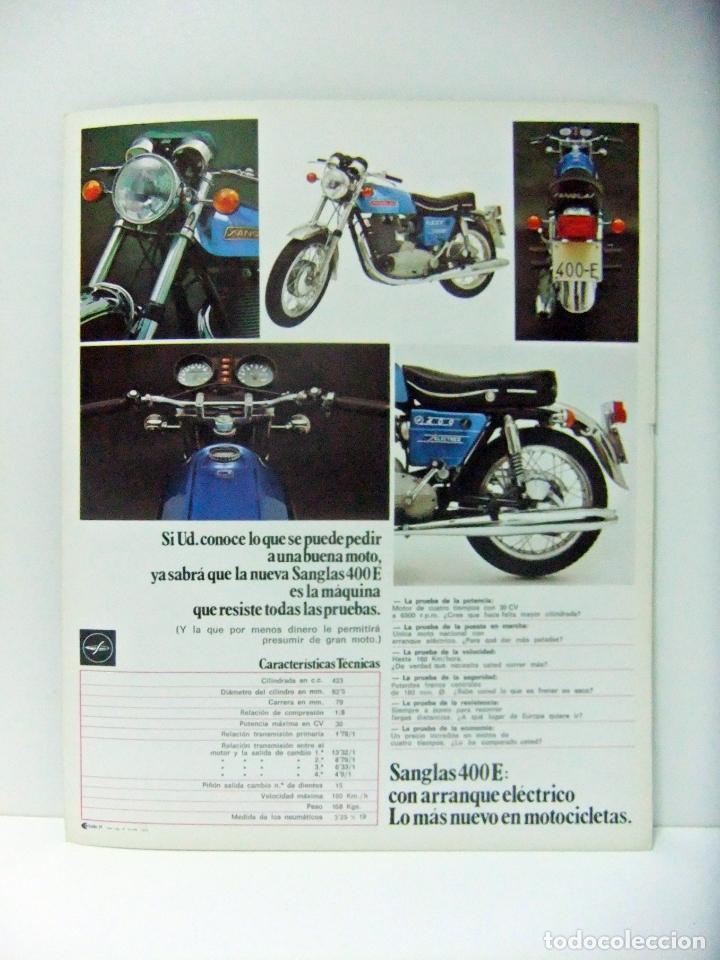 Coches y Motocicletas: HOJA FOLLETO NUEVA SANGLAS 400E 400 E CON ARRANQUE ELÉCTRICO AÑO 1973 - MOTO MOTOCICLETA PUBLICIDAD - Foto 2 - 164281982