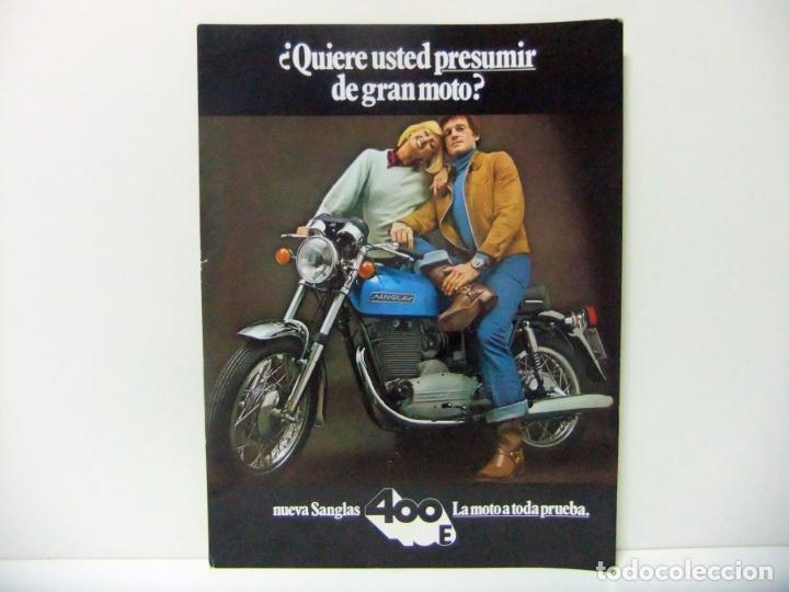 HOJA FOLLETO NUEVA SANGLAS 400E 400 E CON ARRANQUE ELÉCTRICO AÑO 1973 - MOTO MOTOCICLETA PUBLICIDAD (Coches y Motocicletas Antiguas y Clásicas - Catálogos, Publicidad y Libros de mecánica)