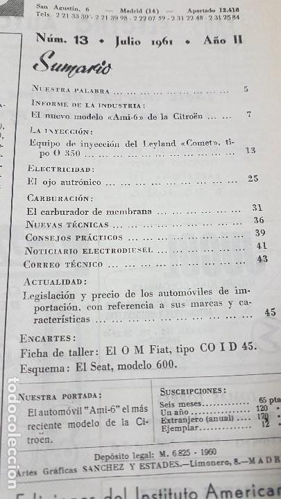 Coches y Motocicletas: ELECTRO-DIESEL- Nº 13 - JULIO 1961 -CITROEN AMI- 6- LEYLAND COMET - ENCARTES SEAT 600, FIAT COID 45 - Foto 2 - 164761594