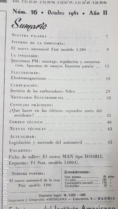 Coches y Motocicletas: ELECTRO-DIESEL- Nº 16 - OCTUBR 1961 -FIAT 1300- MOTOR MAN D1048M - ENCARTES SEAT 1400 - Foto 2 - 164763970