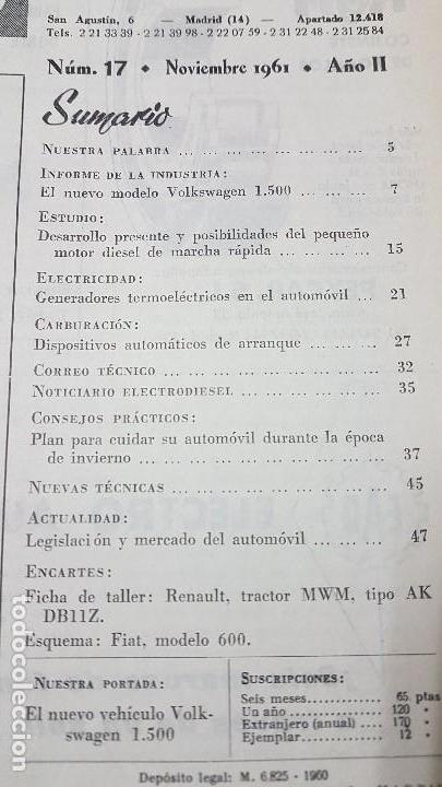 Coches y Motocicletas: ELECTRO-DIESEL- Nº 17 - NOVIEMB 1961 -VOLKSWAGEN 1500- TRACTOR RENAULT MWM - ENCARTES FIAT 600 - Foto 2 - 164764254