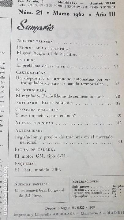 Coches y Motocicletas: ELECTRO-DIESEL- Nº 21 - MARZO 1962- EL GRAN BORGWARD- ENCARTES FIAT 500 - Foto 2 - 164872826
