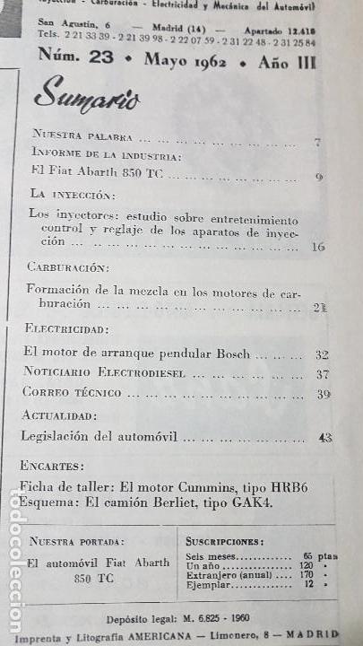 Coches y Motocicletas: ELECTRO-DIESEL- Nº 23- MAYO 1962- EL FIAT ABARTH 850 -CUMMINS HRB6 - ENCARTES CAMION BERLIET - Foto 3 - 164873254