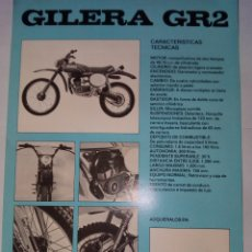 Coches y Motocicletas: FOLLETO ORIGINAL DE LA MOTOCICLETA GILERA GR2-CON LAS CARACTERISTICAS TECNICAS. Lote 165086638