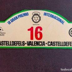 Coches y Motocicletas: PLACA MADERA Nº 16. IX GRAN PEMIO INTERNACIONAL CASTELLDEFELS - VALENCIA. 9º TROFEO PEGASO. Lote 165854582