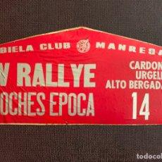 Coches y Motocicletas: PEGATINAS SOBRE CARTON IV RALLYE COCHES EPOCA. BIELA CLUB MANRESA Nº 14.. Lote 165855454