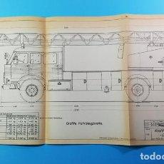 Coches y Motocicletas: RARISIMO PLANO 30 X 59 CM DE PEGASO COMET 1065 CABINA TRIPLE DE BOMBEROS METZ, AÑOS 60. Lote 166525494